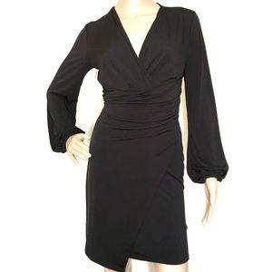 Classic Black Wrap Midi Dress